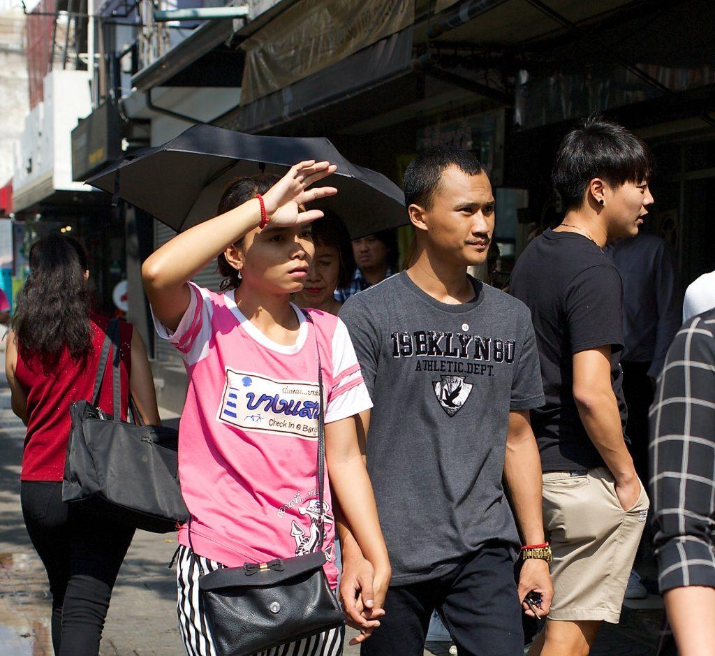 pedestrian in Bangkok on a sunny day