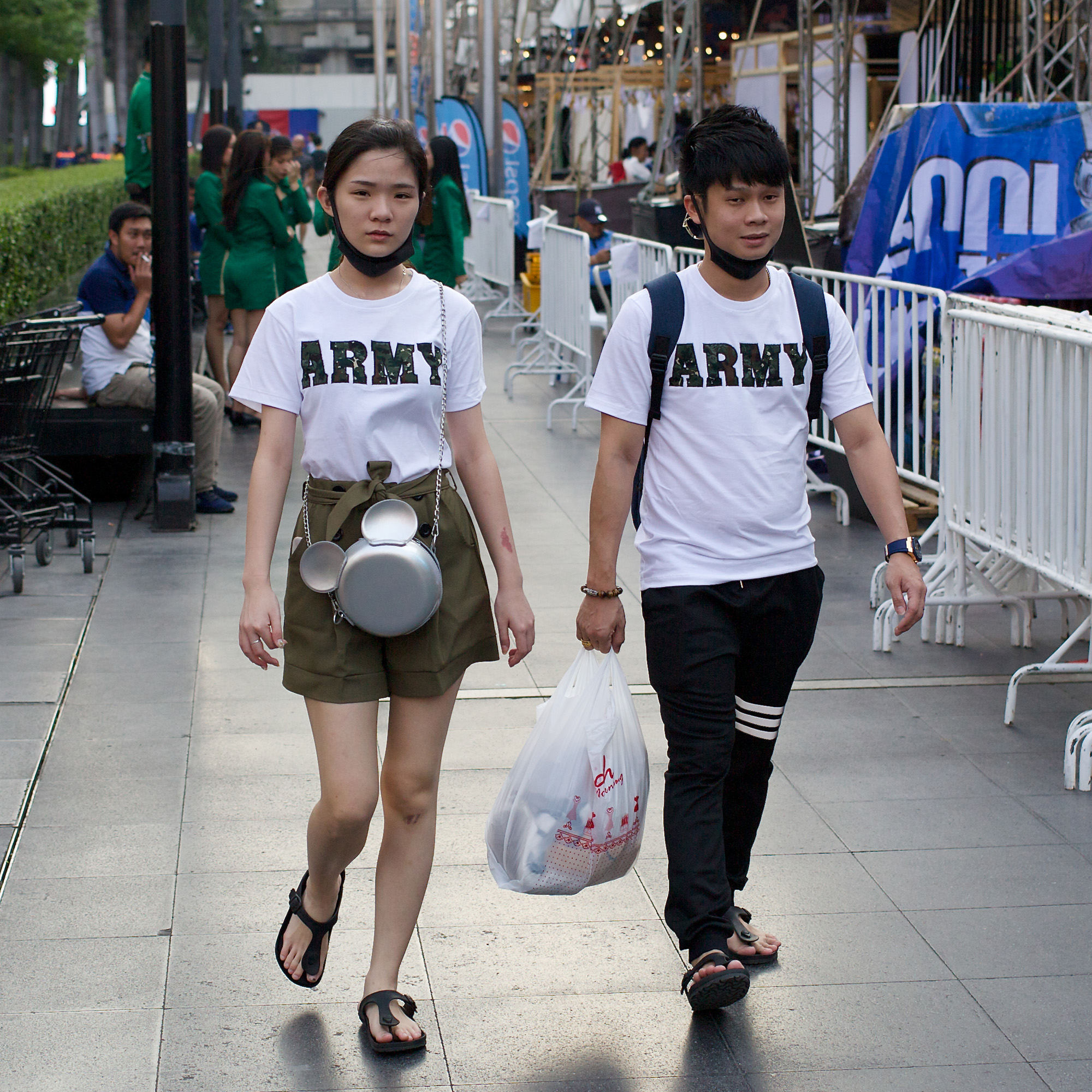 Couple wearing trendy, matching tee-shirts